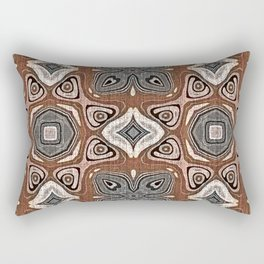 Gray Brown Taupe Beige Tan Black Hip Orient Bali Art Rectangular Pillow