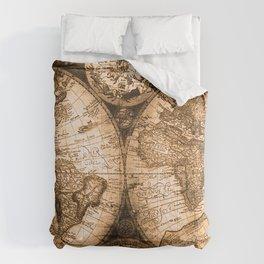 World Map Antique Vintage Maps Comforters
