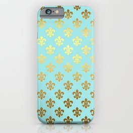 Royal gold ornaments on aqua turquoise background iPhone Case