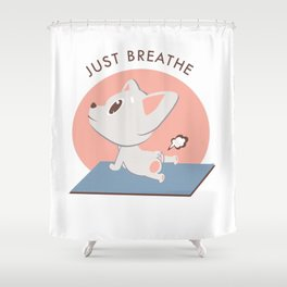 Yoga Kawaii Dog Shower Curtain