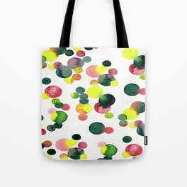 no,634v- Multi red, pink, green and yellow dots Tote Bag