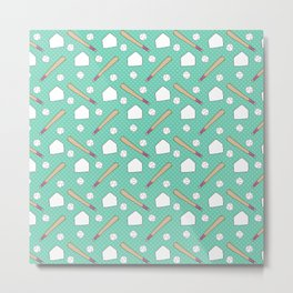 Boy baseball pattern on a teal background Metal Print
