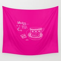 whiskey Wall Tapestries featuring Whiskey in a tea cup by Vibeke hoie