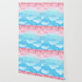 watercolor light blue sky pink glitters Wallpaper