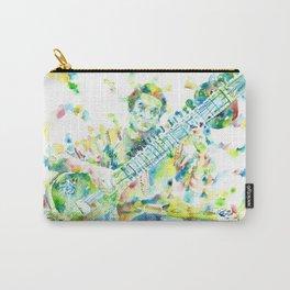 RAVI SHANKAR - watercolor portrait Carry-All Pouch
