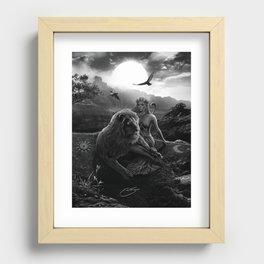 VIII. Strength Tarot Card Illustration Recessed Framed Print