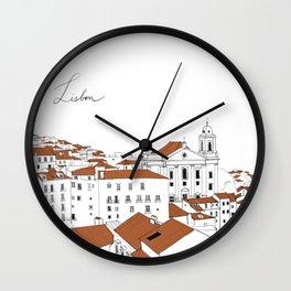 Lisbon City Illustration  Wall Clock