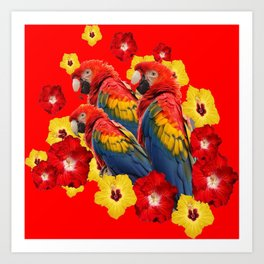 TROPICAL BLUE MACAWS & RED YELLOW HIBISCUS RED ART Art Print