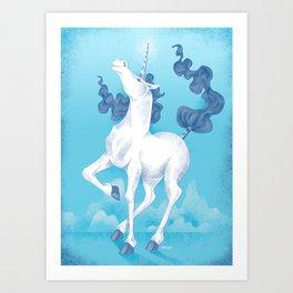 Stencil Unicorn on Teal Sky and Cloud Spray Art Print