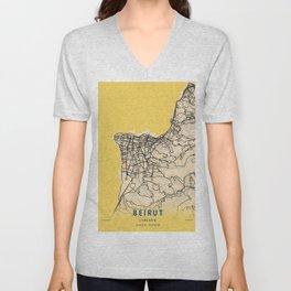Beirut Yellow City Map Unisex V-Neck
