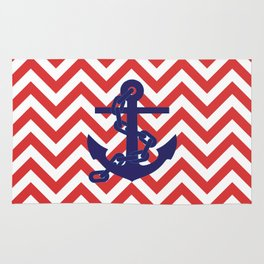 Blue Anchor on Red and White Chevron Pattern Rug