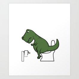TRex dinosaur arms toilet funny gift Art Print