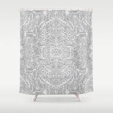 Frost & Ash - an Art Nouveau Inspired Pattern Shower Curtain