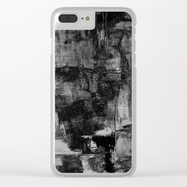 Crackled Gray - Black, white and gray, grey textured abstract Clear iPhone Case