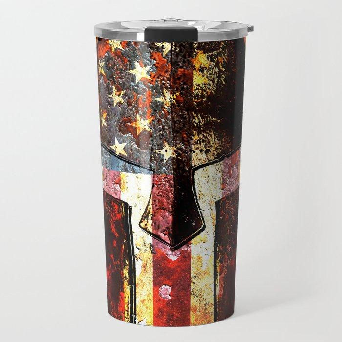 American Flag And Spartan Helmet On Rusted Metal Door - Molon Labe Travel Mug