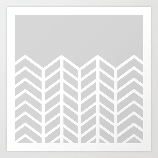 LACE CHEVRON (GRAY) Art Print