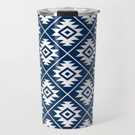 Aztec Symbol Ptn White on Dk Blue Travel Mug