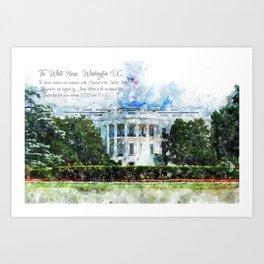 White House, Washington DC, Watercolor Art Print
