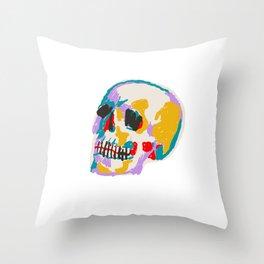 Painted Skull Light Throw Pillow