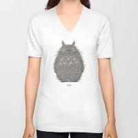 avocado V-neck T-shirts featuring Avocado Totoro by The Babybirds