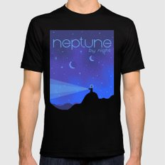 NEPTUNE Space Tourism Travel Poster Black Mens Fitted Tee MEDIUM