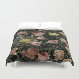 Vintage Roses and Iris Pattern - Dark Dreams Duvet Cover