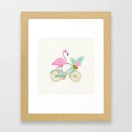 Tropical Flamingo Bike Framed Art Print