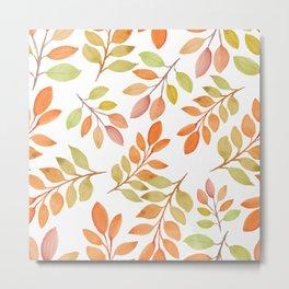 Autumn Watercolor Fall Leaves Leaf Peeper Metal Print