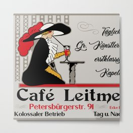 Café Leitmeyer, German retro style coffee shop advertising Metal Print