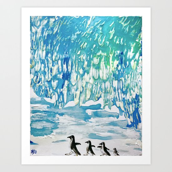 Penguin Family on Thin Ice Art Print