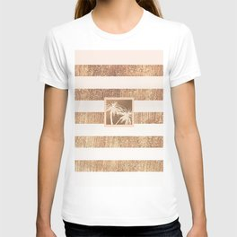 Copper & Cream Stripes & White Palm Trees T-shirt