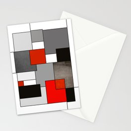 Modern Geometric Red and Black Stationery Cards