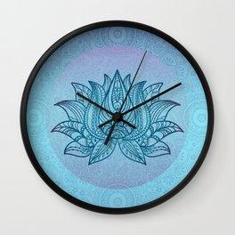 Blue Turquoise Lotos Flower Spiritual Tribal Art Wall Clock