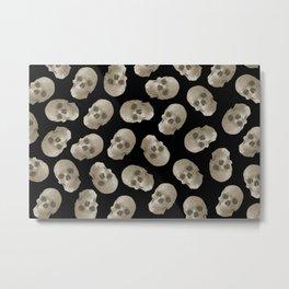 Halloween Skull pattern design black background Metal Print