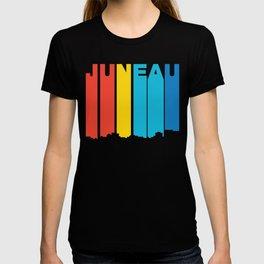 Retro 1970's Style Juneau Alaska Skyline T-shirt