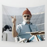 wes anderson Wall Tapestries featuring LIFE AQUATIC by VAGABOND