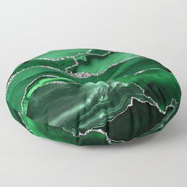 Glamour Emerald Bohemian Watercolor Marble With Silver Glitter Veins Floor Pillow