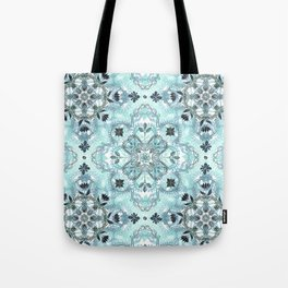 Soft Mint & Teal Detailed Lace Doodle Pattern Tote Bag
