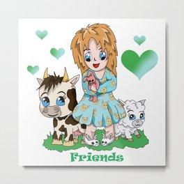Farmyard friends with green text Metal Print