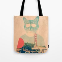 mad Tote Bags featuring Cool Cat by Ali GULEC