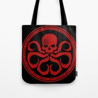hydra Tote Bags featuring Hail Hydra! by livinginamovie