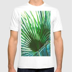 Bright Palm 4 MEDIUM White Mens Fitted Tee