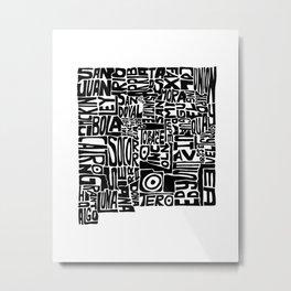 Typographic New Mexico Metal Print