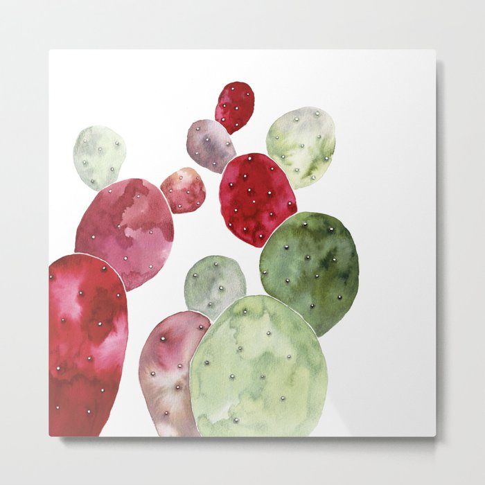 Watercolor cactus bunch in red and green Metal Print