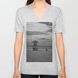 Clearwater Beach Florida Lifeguard Hut Tampa Bay Ocean Black White Print Unisex V-Neck