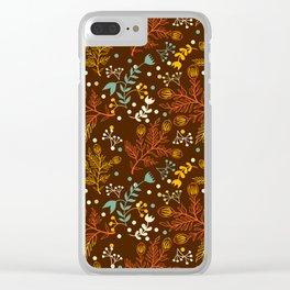 Elegant fall orange yellow teal brown floral polka dots Clear iPhone Case