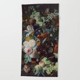 Jan van Huysum Still Life with Flowers and Fruit Beach Towel