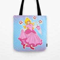 princess peach Tote Bags featuring PRINCESS PEACH by Laurdione