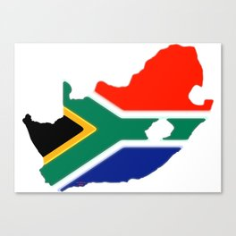 South Africa Map with South African Flag Canvas Print