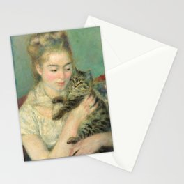 Woman with a Cat Oil Painting by Auguste Renoir Stationery Cards